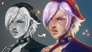 GRAYSCALE TO COLOR Digital Painting Tutorial | EASY TIPS
