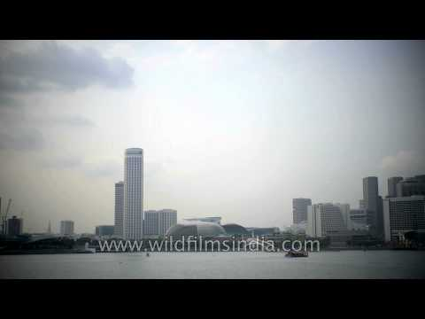 View of Singapore from river- Time lapse