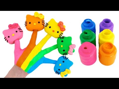 Learn Colors for Children Body Paint with Play Doh Hello Kitty & Finger Family Nursery Rhymes