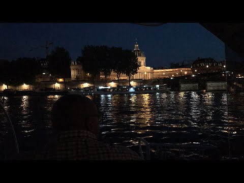 Paris boat ride at night to Eiffel Tower