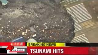 Massive TSUNAMI hits North JAPAN Sendai after 8.8 to 9.1 earthquake 11th March 2011