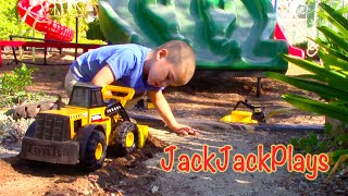 Construction Vehicles Toy UNBOXING - Tonka Front Loader Digging Playing JackJackPlays