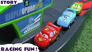 Micro Drifters Disney Cars Race Story Crash Accident Peppa Pig Jake Frozen Olaf Lightning McQueen