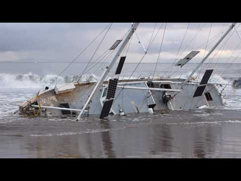 Sailboats Run Aground at East Beach in Santa Barbara