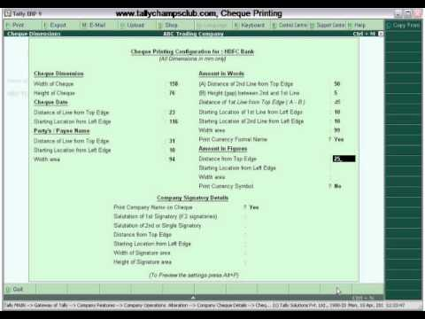 Tally.ERP 9 Advance Feature, Cheque Printing