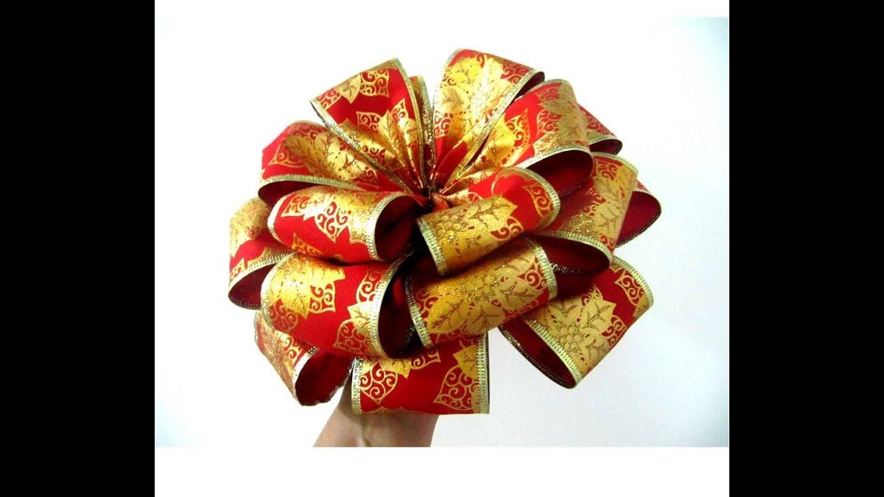 Mo os flores navide as de tres capas en cintas youtube - Cintas navidad para arbol ...
