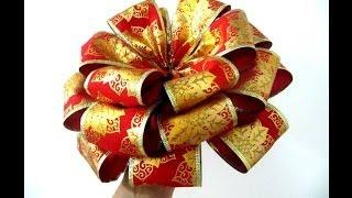 Repeat youtube video Moños flores navideñas de  tres capas en cintas