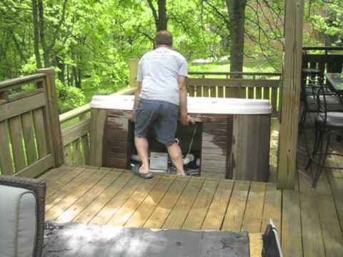 Moving Hot Tub Series 1 Man Moves 7x7 Down 3 Steps Alone The Spa Guy