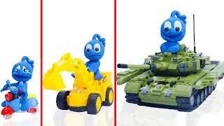 CLAY MIXER BUILDING LEGO TANK VEHICLE 💖 Animation Cartoons Play Doh