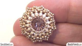 BeadsFriends: Post beaded earring - A different way to bezel a Rivoli Swarovski