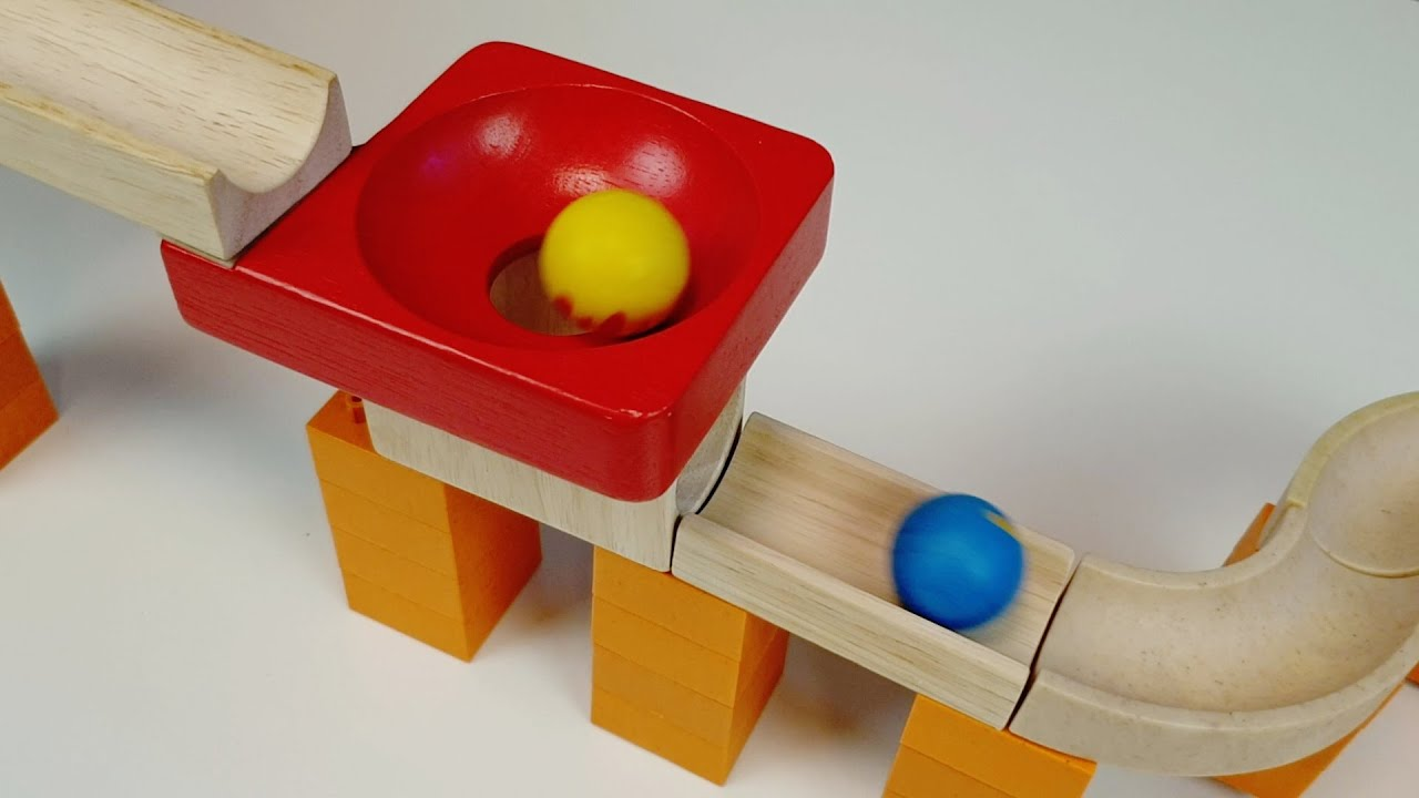 Big marbles balls rolling down the slope and fall into Garbage Truck Marble run race ASMR