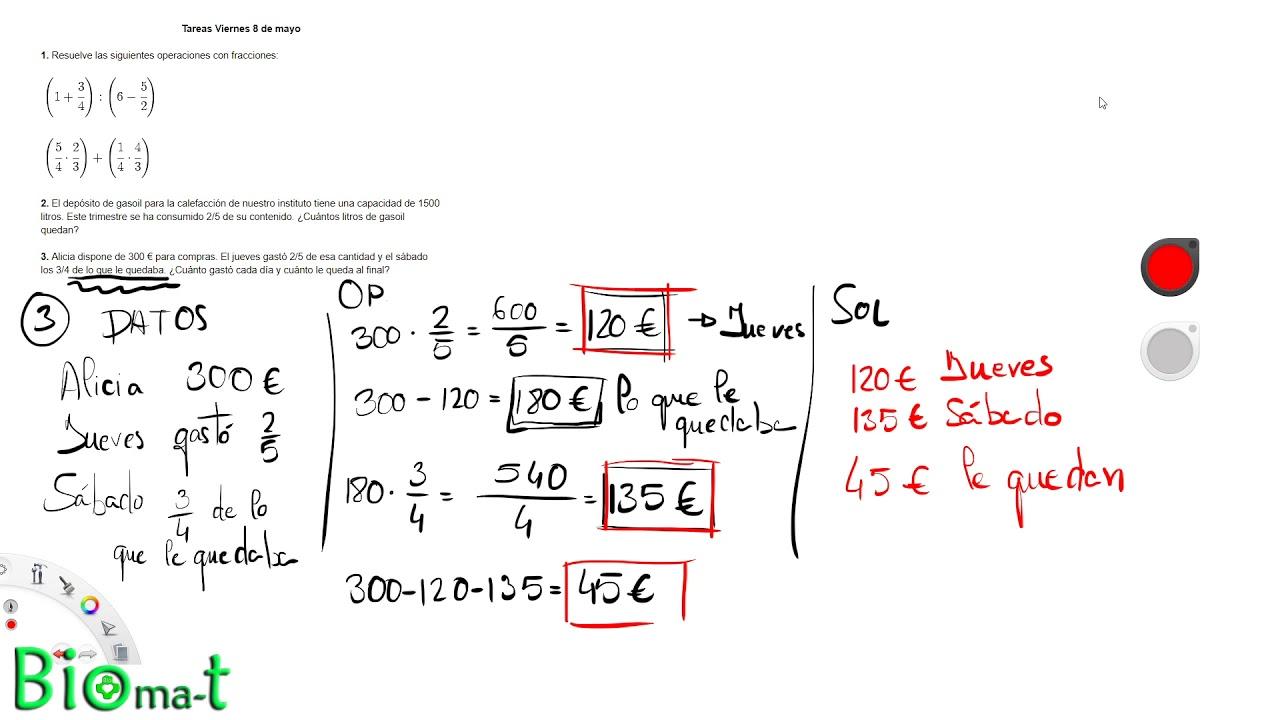 Problemas con fracciones + números decimales - 2ºESO ...