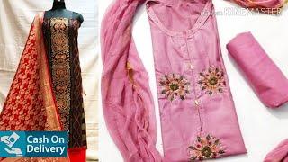 Designer Zari suits and Dress Materials    Latest Chanderi cotton Dress materials    Dress materials