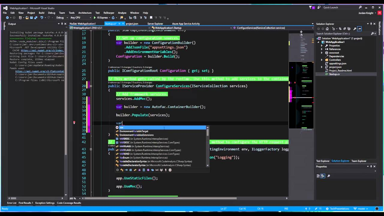 Autofac Dependency Injection in ASP NET Core (RC1)