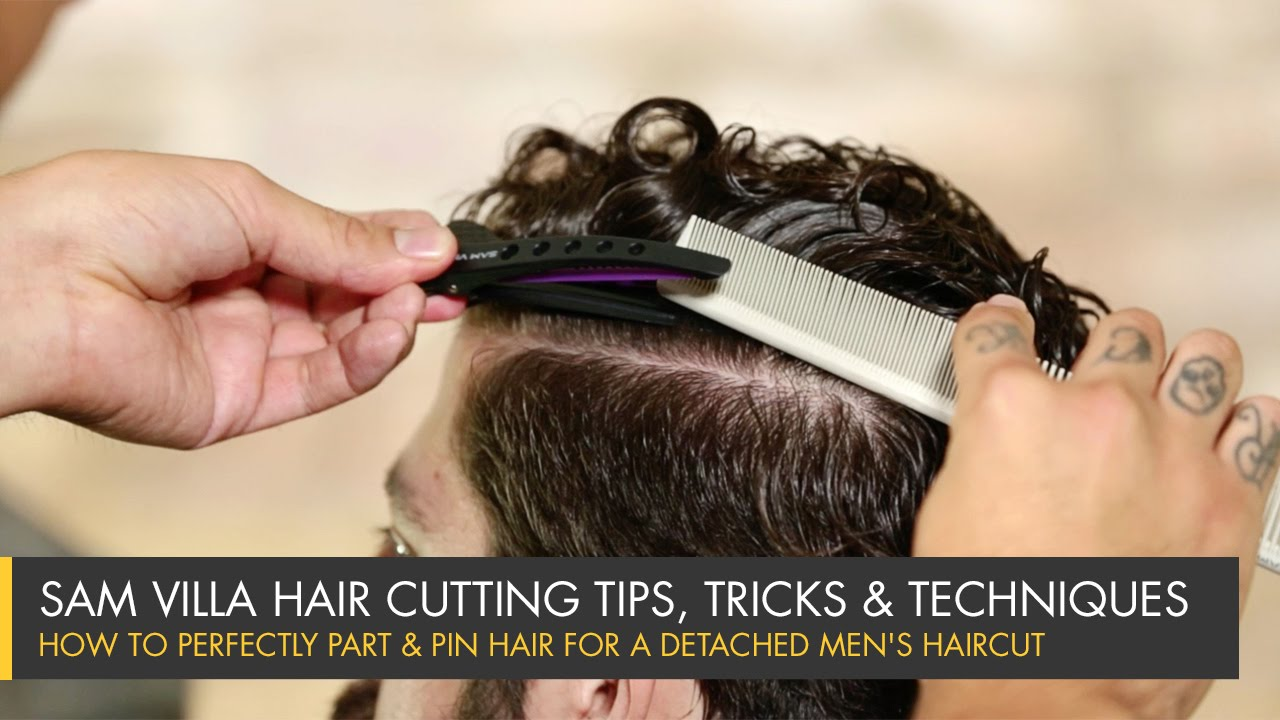 How To Perfectly Part Pin Hair For A Detached Mens Haircut Youtube