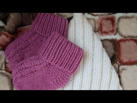 Вяжем носочки для малыша 6 месяцев двумя спицами