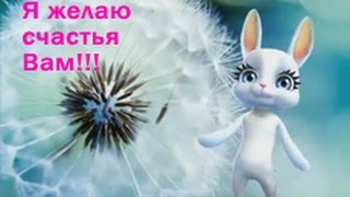 Я желаю СЧАСТЬЯ ВАМ - Поздравляет всех Зайка - Виртуальная открытка от Happy Зайки ZOOBE