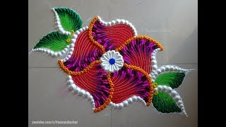 Beautiful and unique flower rangoli | Easy rangoli designs by Poonam Borkar