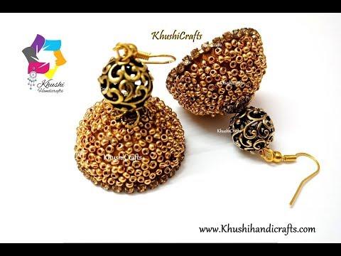Beaded Silk thread jhumka in 5 mins-Festive collection | DIY tutorial