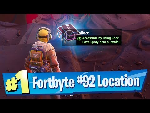 Fortnite Fortbyte #92 Location - Accessible By Using Rock Love Spray Near A Lavafall