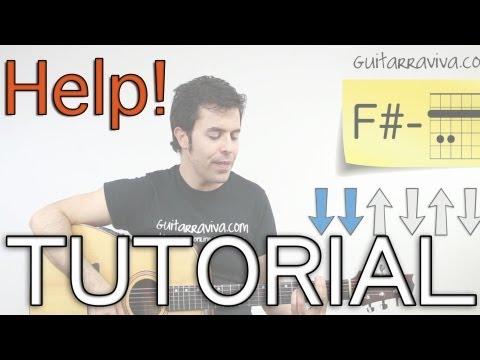 Help Beatles en Guitarra acordes y Ritmo Tutorial como tocar HELP! acústica o criolla
