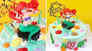 MERMAID Birthday Cake Buttercream  Little Mermaid Cake Tutorial