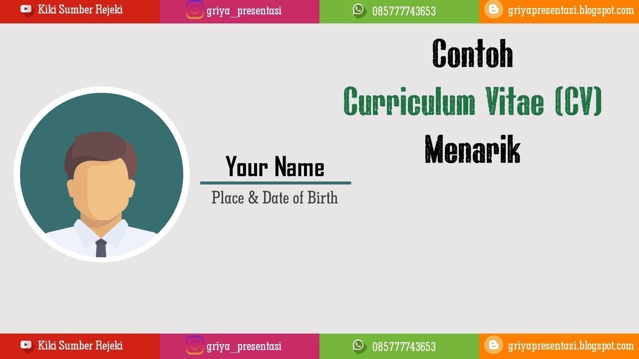 Contoh Curriculum Vitae Cv Menarik Dengan Powerpoint Youtube