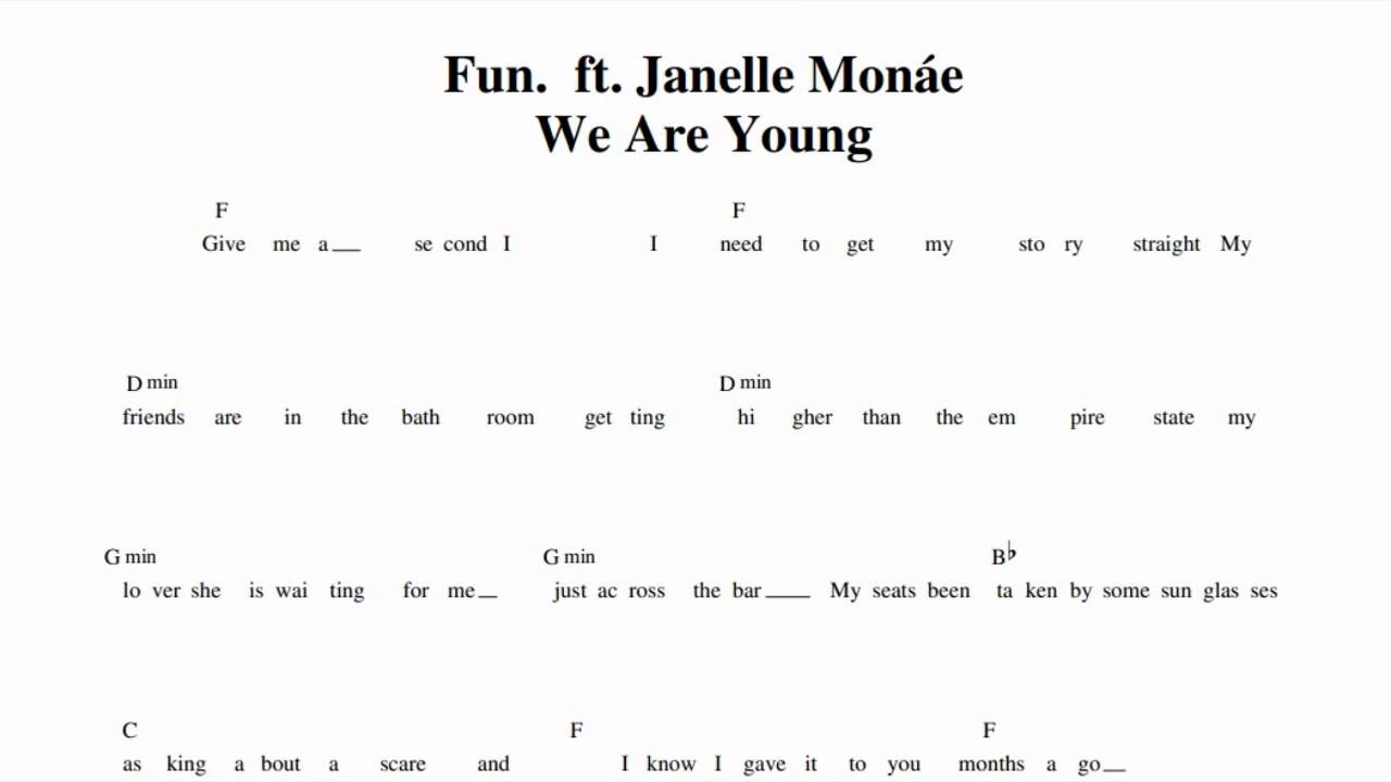 We Are Young Chords Choice Image Piano Chord Chart With Finger