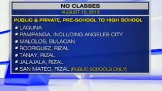 NO CLASSES (AUGUST 10, 2012)