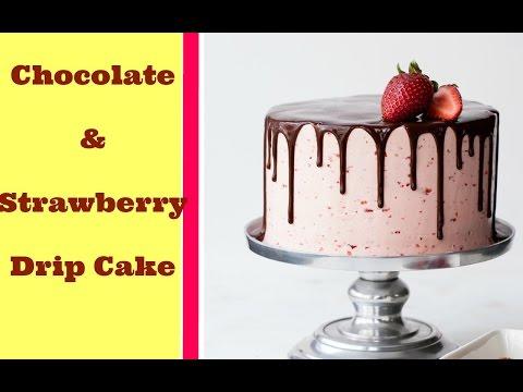 Chocolate And Strawberry Drip Cake