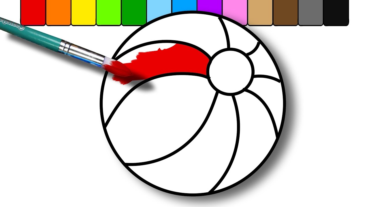 colouring a beach ball coloring page for kids to learn