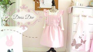 DRESS DIY || cute pink ruffle sleeve dress