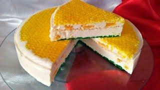 Творожный торт без выпечки с апельсинами. Торт-суфле