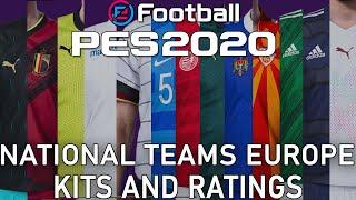 PES 2020 - Europe national teams kits and ratings