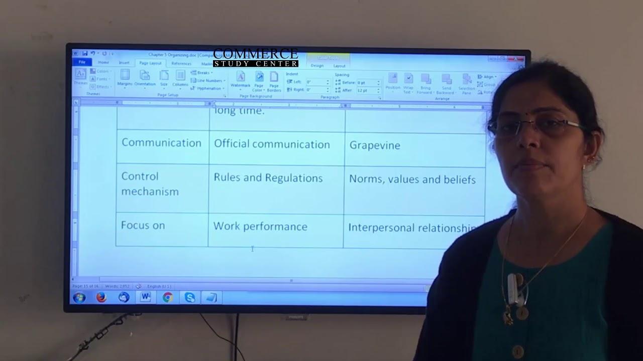 distinguish between formal and informal organization