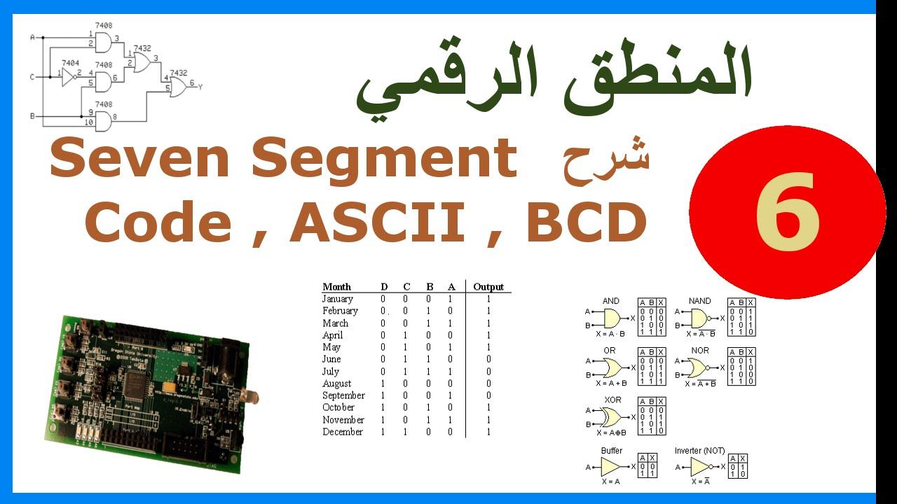 ب. المنطق الرقمي || ح6. شرح Seven Segment Code , ASCII , BCD