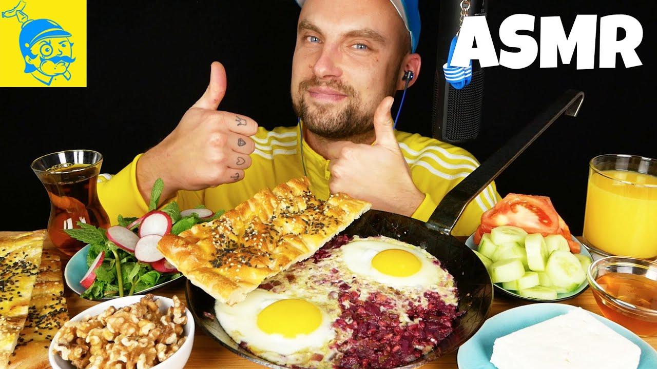 ASMR persisches Frühstück essen 💛💙 (ASMR Deutsch) - GFASMR