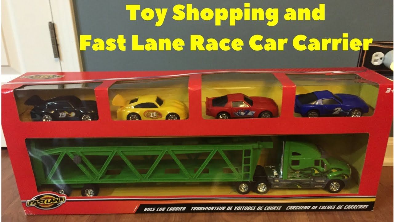 FastLane Race Car Carrier + Toy Store Shopping + Playing with cars ...