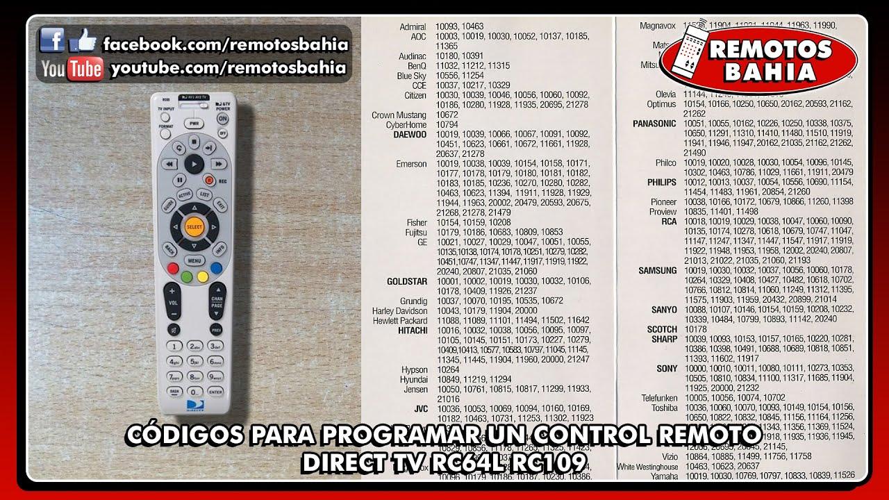 CÓDIGOS PARA PROGRAMAR CONFIGURAR UN CONTROL REMOTO DIRECT TV RC64L RC109 REMOTOS BAHIA #1