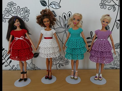 Как вязать платье крючком для начинающих видео для куклы