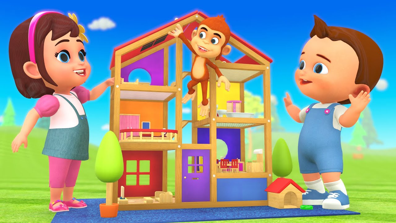 #DIY Wooden Doll House for Kids | 3D Animated Cartoon Kids Educational Little Babies Fun Play Videos