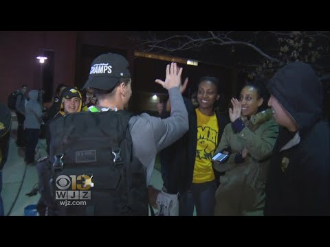 UMBC Men's Basketball Team Welcomed Home By Cheering Fans