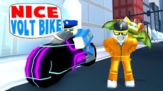 Today a cop takes away my volt bike in a game of Roblox Jailbreak.....