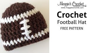 Football Hat Free Crochet Pattern - Right Handed