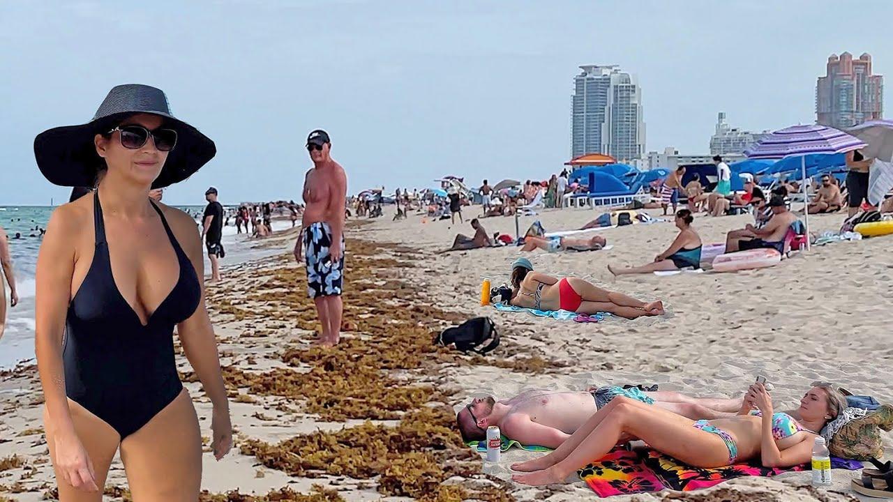 BEACH WALK weekend in MIAMI 2021 South Florida USA 4k video