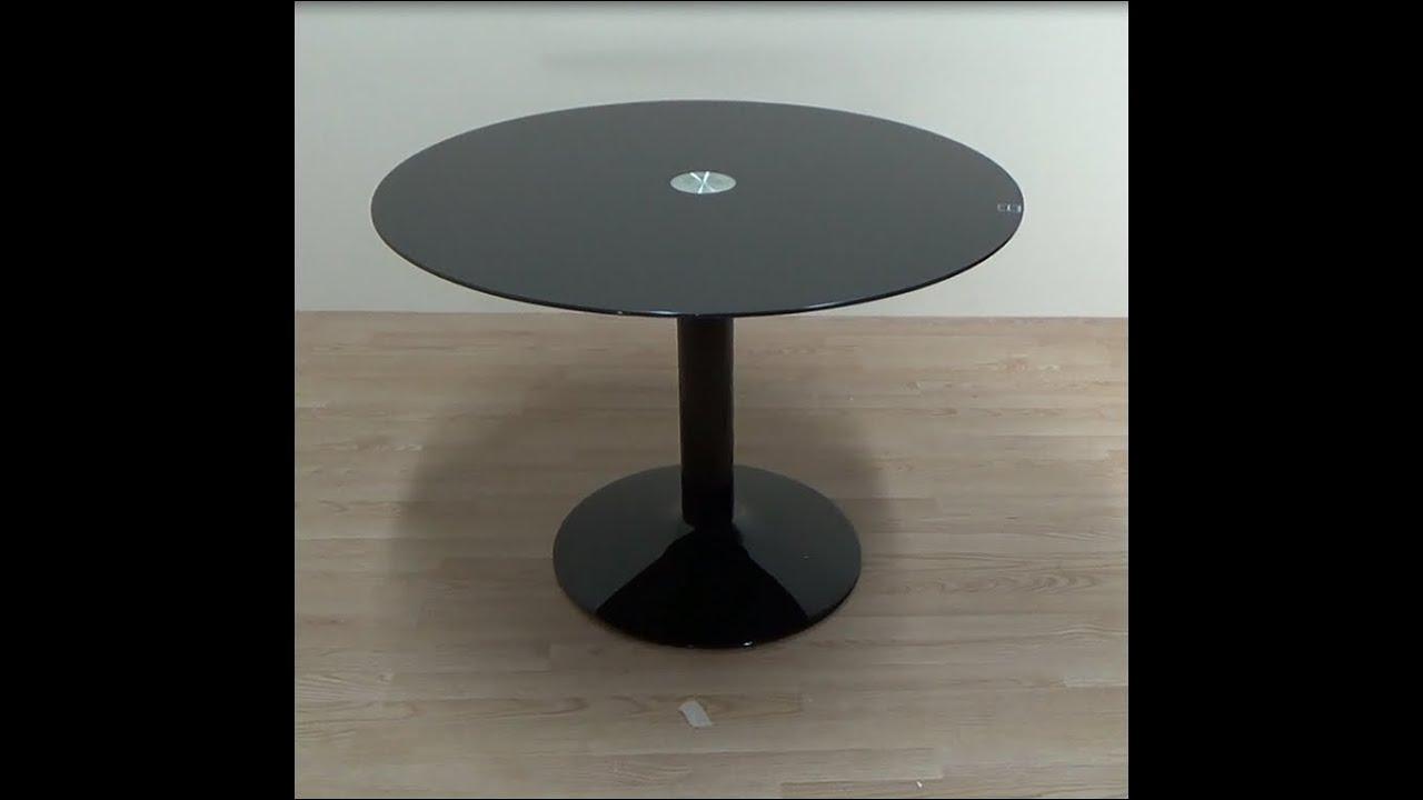 Mesa de comedor o cocina redonda de cristal translucido