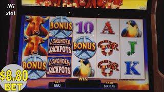 ★$8.80 Max Bet ★Longhorn Jackpots Slot Machine Bonus Won & Big Win Line Hit |Progressive Pick Bonus