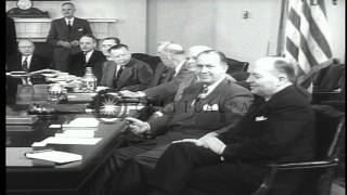 President Eisenhower Meets With His Cabinet In The White House. Hd Stock Footage