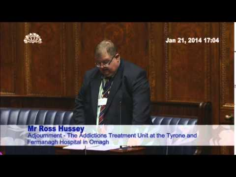 Ross Hussey MLA speaking on Addictions Treatment Unit in Stormont (NIA)