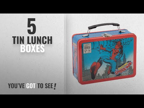 Best Tin Lunch Boxes [2018]: Vandor Marvel Spider-Man Large Tin Tote, 3.5 x 7.5 x 9 Inches (55525)
